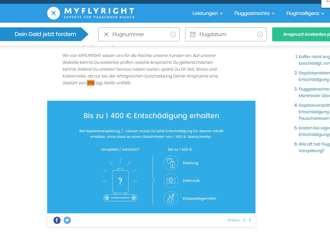 20-05-09 Myflyright Gepäckentschädigung